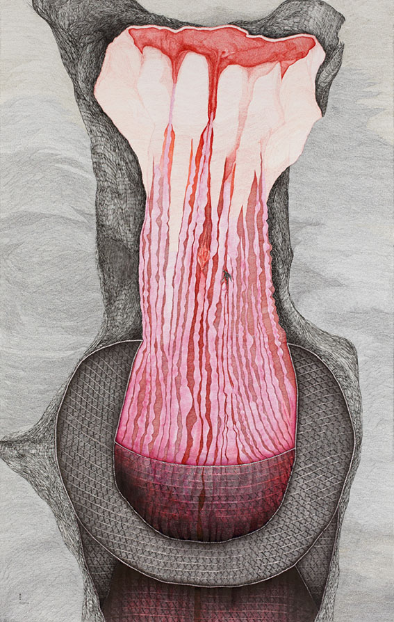 Utérin n°1 – encre – 120×200 cm – 2014 – Photo © Atelier Find Art