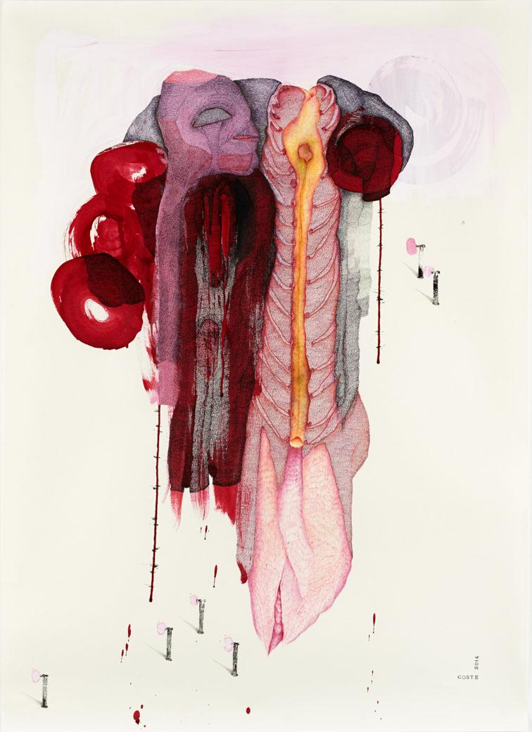 Red desire n°23 – encre – 946×60 cm – 2014 – Photo © Atelier Find Art