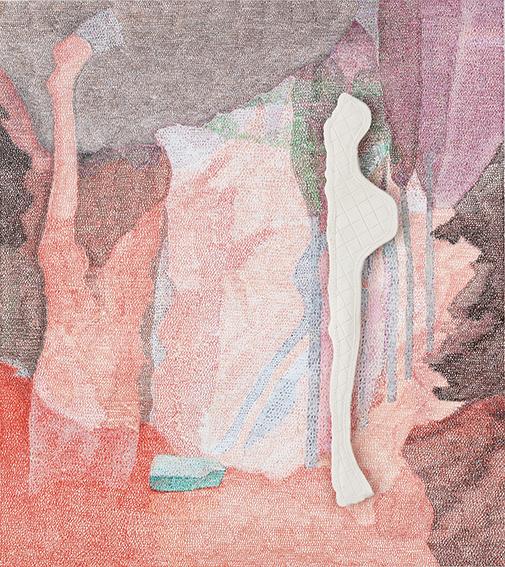 Capsule 2D n°5 – acrylique, céramique – 50×56 cm – 2020 – Photo©Atelier Find Art